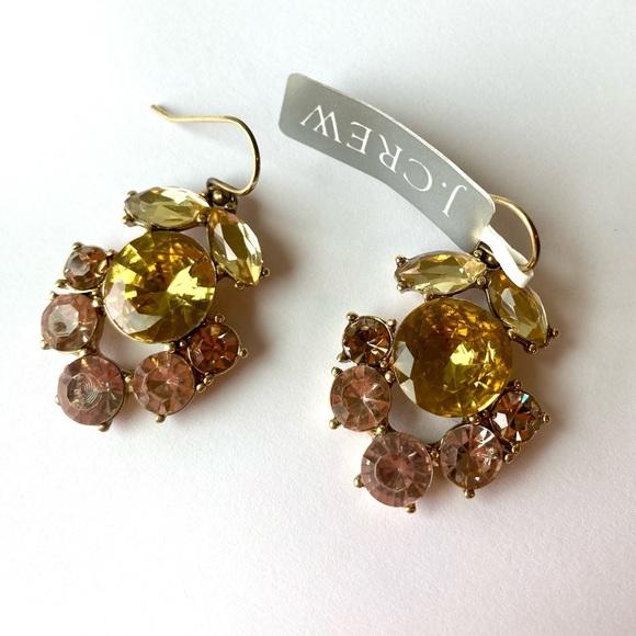 J. Crew Statement Earrings Jewel Pink Gold Yellow